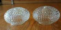 2 Hobnail Glass lamp shades clear vintage rounded part lantern light globe
