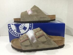 BIRKENSTOCK Women Arizona Taupe Brown Suede Sandal Shoes Sz 8 EU39 ZB6-1826