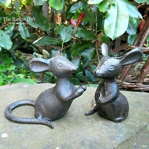 Pair of Cast Iron Mice, Mouse Garden Ornaments