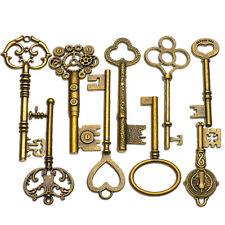 9PCS BIG Large Antique Vtg old Brass Skeleton Keys Lot Cabinet Barrel Lock   c