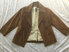 retired GAP KIds leather suede jacket button lined for girls size M (7-8)