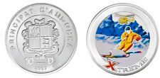 2007 Andorra Large Color Proof Silver 10 D Extreme Helicopter Downhill Skiing