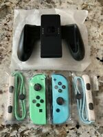 Nintendo Switch Animal Crossing Joy-Con Set Controllers + Straps + Grip NEW