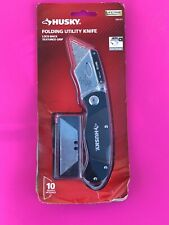 Husky Hand Tools Folding Lock-Back Utility Knife Box Cutter New + 10 Blades
