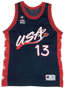 Vtg 90s Champion NBA Basketball Jersey SHAQUILLE ONEAL 96 USA OLYMPIC DREAM TEAM