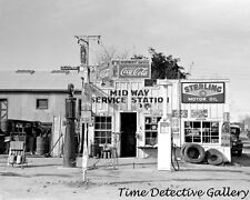 Midway 2-Pump Gas Station, Mercedes, Texas - 1939 Historic Photo Print