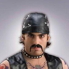 Biker Moustache Fake Mustache 100 % Human Hair Black Fu Manchu Style Stache