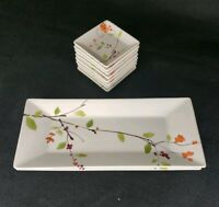 Crate & Barrel Akina Rectangular Plate Oriental Floral Motif 2 Appetizer 4 Sauce