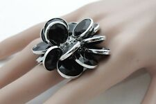 Women Silver Metal Chains Ring Fashion Jewelry Elastic Band Black Beads Flower