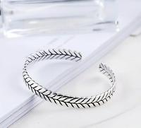 Vintage Bracelet Bangle 925 Sterling Silver Serpentine Pattern Bohemian UK