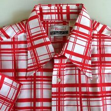Vintage 1960s Red White Plaid Now Breed by Campus Short Sleeve Shirt USA NEW