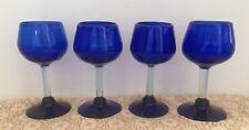 HANDBLOWN GLASS WINE GLASSES COBALT BLUE SET OF 4 GOBLET HEAVY BEAUTIFUL!!