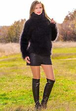 ♕ SUPERTANYA ♕ BLACK hand knitted mohair sweater fuzzy top turtleneck jumper