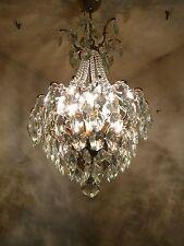 Vintage 3 light Brass and Crystal Old Spider Chandelier