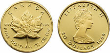 Canada 1989 Maple Leaf 1/2 oz Proof Gold Coin