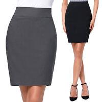 Womens Bodycon Girls Pencil Skirt Stretch Ladies Midi Party Office school Skirt*