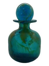 """MDINA Glass Bottle with Stopper 6 3/4"""" Tall c1970's"""
