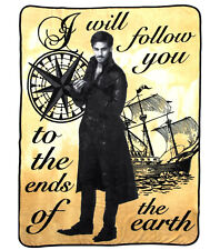 Disney Captain HOOK I'll Follow You Once Upon a Time Soft THROW Fleece Blanket