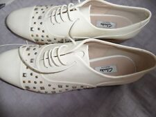 clarks brogues size  7.5 D  white patent leather .studded.