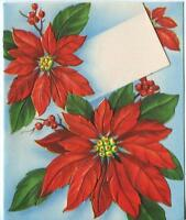 VINTAGE CHRISTMAS RED POINSETTIA FLOWERS HOLLY BERRY  LITHOGRAPH CARD ART PRINT