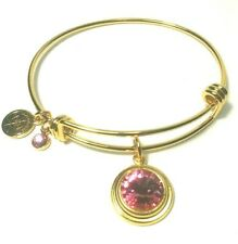 Halos & Glories by Alex and Ani October Crystal Charm Gold Bangle Bracelet