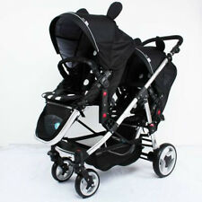 Light Twin Baby Stroller Double System Folding Baby Pram Jogger with 2 Seats