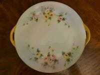 ANTIQUE HUTSCHENREUTHER HANDLED CAKE PLATE HAND PAINTED PASTELS &  ROSES Lovely!