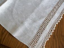 "LARGE VINTAGE 70""x106"" LINEN TABLECLOTH ~ BANQUET SIZE ~ DRAWN WORK & CROCHET"