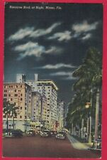 0218C MIAMI FLORIDA VTG LINEN PC BISCAYNE BLVD AT NIGHT OLD AUTOS