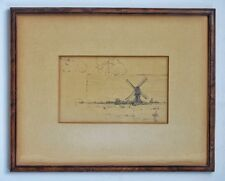 Framed Landscape Drawing & Sheep John Henry Vanderpoel 1857-1911 Dutch-American