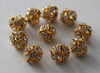 Modeschmuck 10 Edelstahl Perlen 12mm Farbe gold Zwischenperle Glitzer Steinen