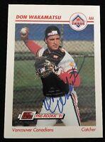 DON WAKAMATU 1991 IMPEL PRE ROOKIE RC Autograph Signed AUTO Baseball Card 648