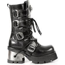 Sale M.373-S33 New Rock Frauen Echtleder Stiefel Boots 4 Schnallen schwarz Gr 36