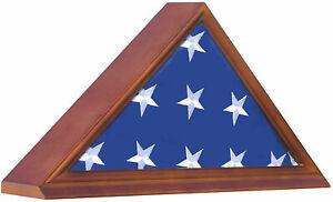 Burial Memorial Flag Display Case for 5'X9.5' Folded Casket Draped Flag-Hardwood