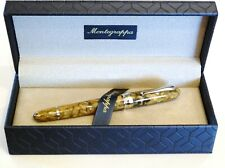 MONTEGRAPPA LIBERTY INDIAN RAINBOW LARGE ROLLERBALL PEN IN CELLULOID & SILVER