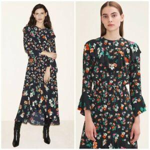 MAJE Floral Midi Dress Size 1 Ruffle Imprime