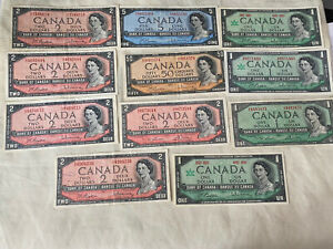 Canada Dollars Bills $1 $2 $5 $50 1954-67 Lot Of VF-UNC Condition Lot Of 11