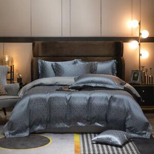 4pcs bedding set Luxury brocade yarn-dyed jacquard quilt cover flat sheet set