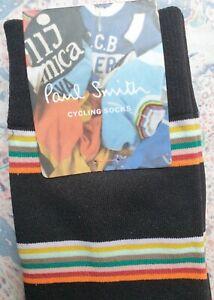 Paul Smith Mens Korean Cycle Socks Calf Block Black & Grey K706S Medium NylonMix