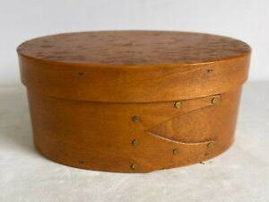 Vintage SHAKER Wood Wooden Oval Box Triple Dovetail Finger Band 5.5""