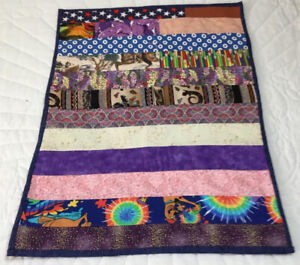 Small Patchwork Quilt, Doll Crib Quilt Or Table Topper, Rectangle Logs, Calicos