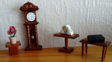 VINTAGE DOLLS HOUSE, GRANDDAUGHTER CLOCK, OCCASIONAL TABLES, MANTEL CLOCK & BOOK