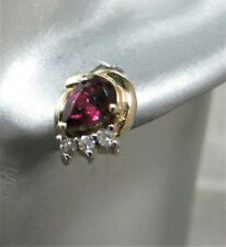 10ct Gold & Rhodolite Garnet & Diamond Stud Earrings. Excellent Quality. xfcd