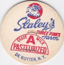 MILK BOTTLE CAP. STALEY'S THREE PINES FARM. DE RUYTER, NY. DAIRY