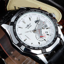 Winner Automatic Stainless Steel Case Leather Strap Skeleton White Face Watch