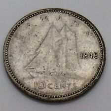 1946 Canada 10 Ten Cents Silver Dime Canadian Circulated Coin F734
