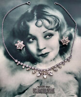 VINTAGE ART DECO RHINESTONE NECKLACE & EARRING SET STUNNING BRIDAL OCCASION GIFT