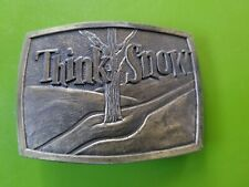 "Vintage 1975 ""Think Snow"" Belt Buckle Lewis Buckles Chicago Tree Ski Tracks"