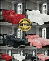 Luxury Crushed Velvet Bedspread Quilted Comforter Bed Throw 3 Pcs Bedding Set UK