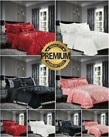 Luxury Crushed Velvet Bedspread Quilted Comforter Bed Throw 3 Pcs Bedding Set UK